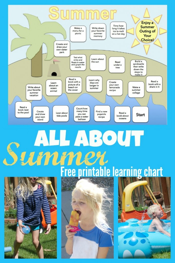 Fun and educational summer learning chart