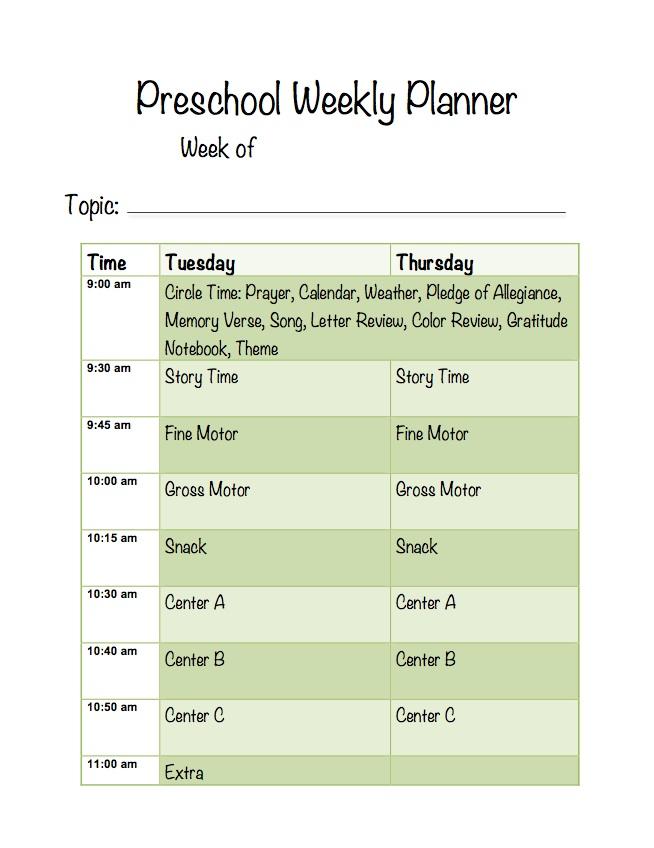 Preschool Planner Picture