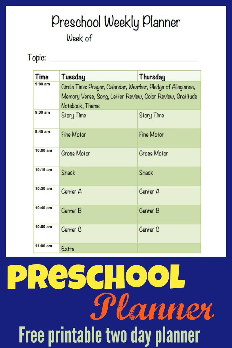 Printable Preschool Planner | More Excellent Me