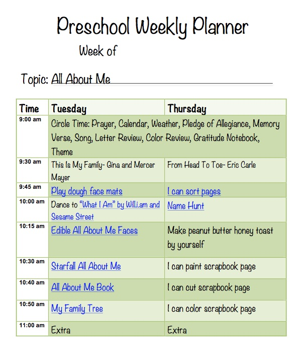 All About Me Preschool Week  More Excellent Me