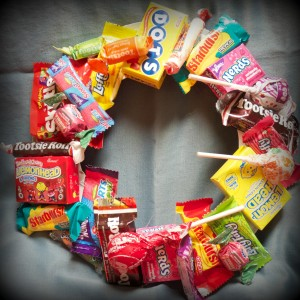 candy paper plate wreath