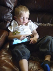 Big Boy playing kindle fire