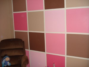 Girls squares bedroom wall