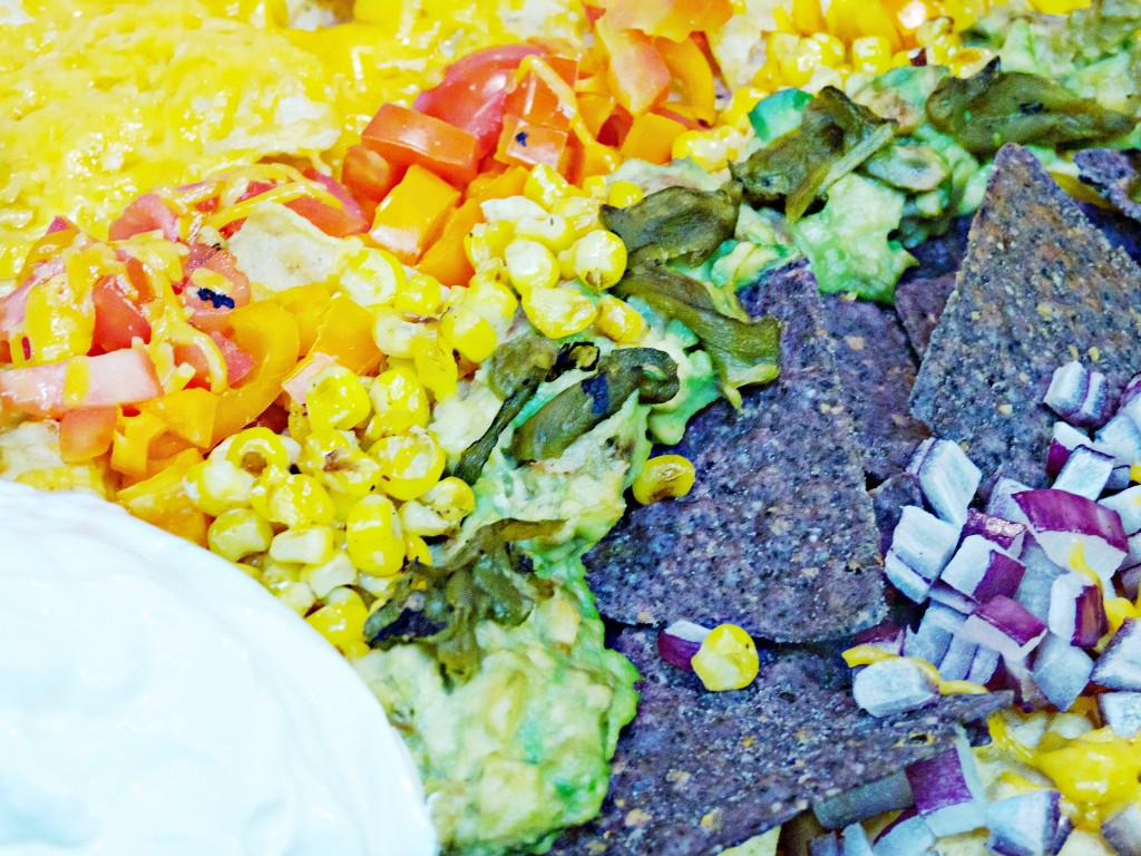 close up rainbow nachos