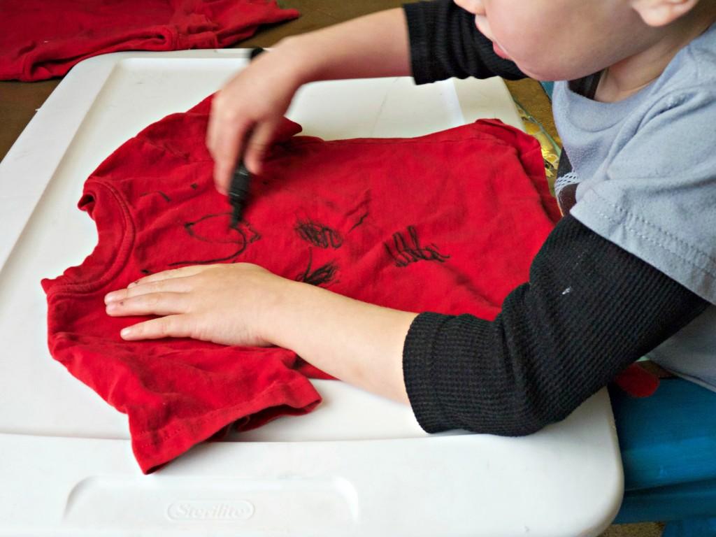 Big Boy making mickey shirt