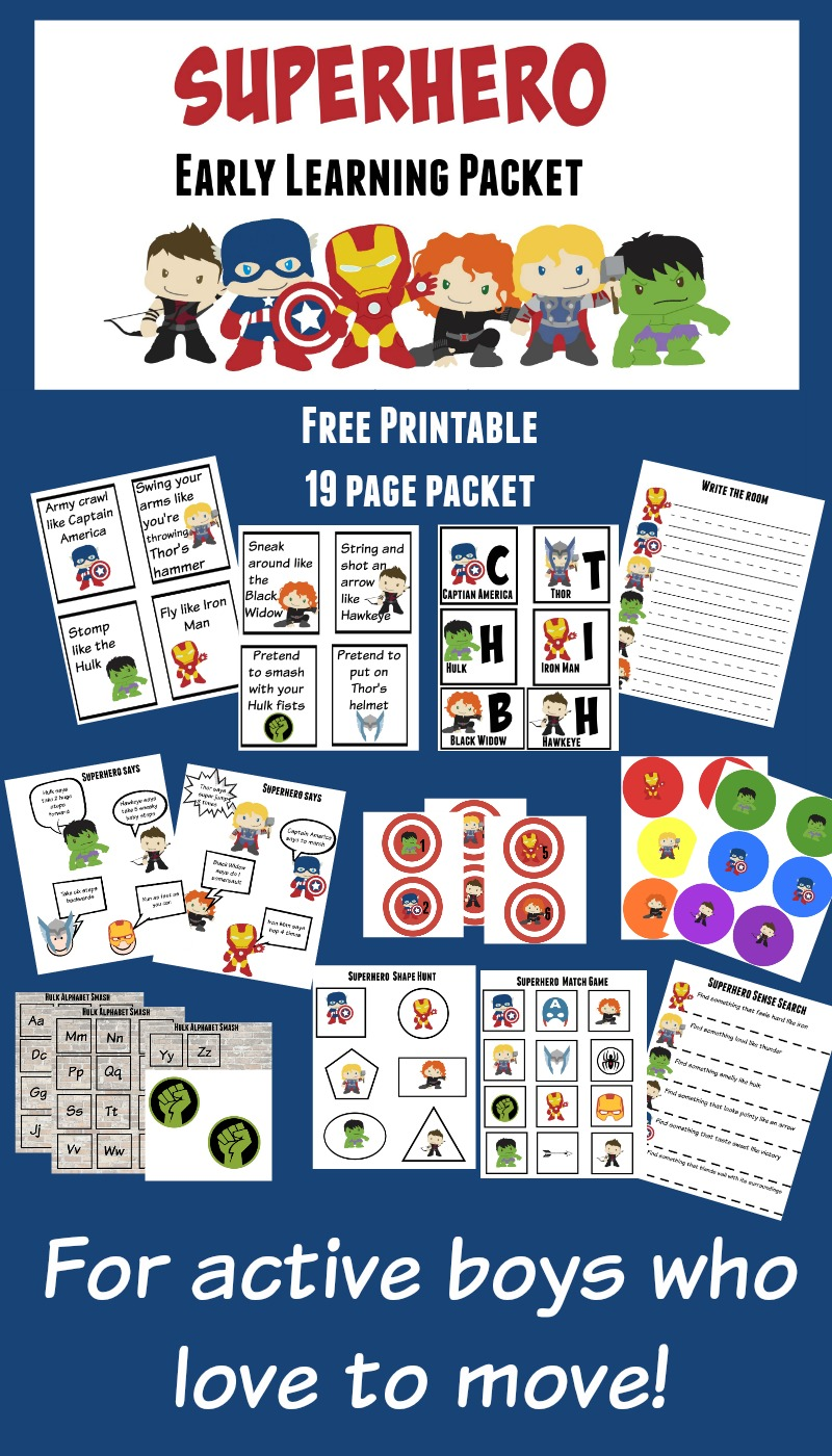 Superhero Early Learning Packet. Superhero 19 page active preschool packet