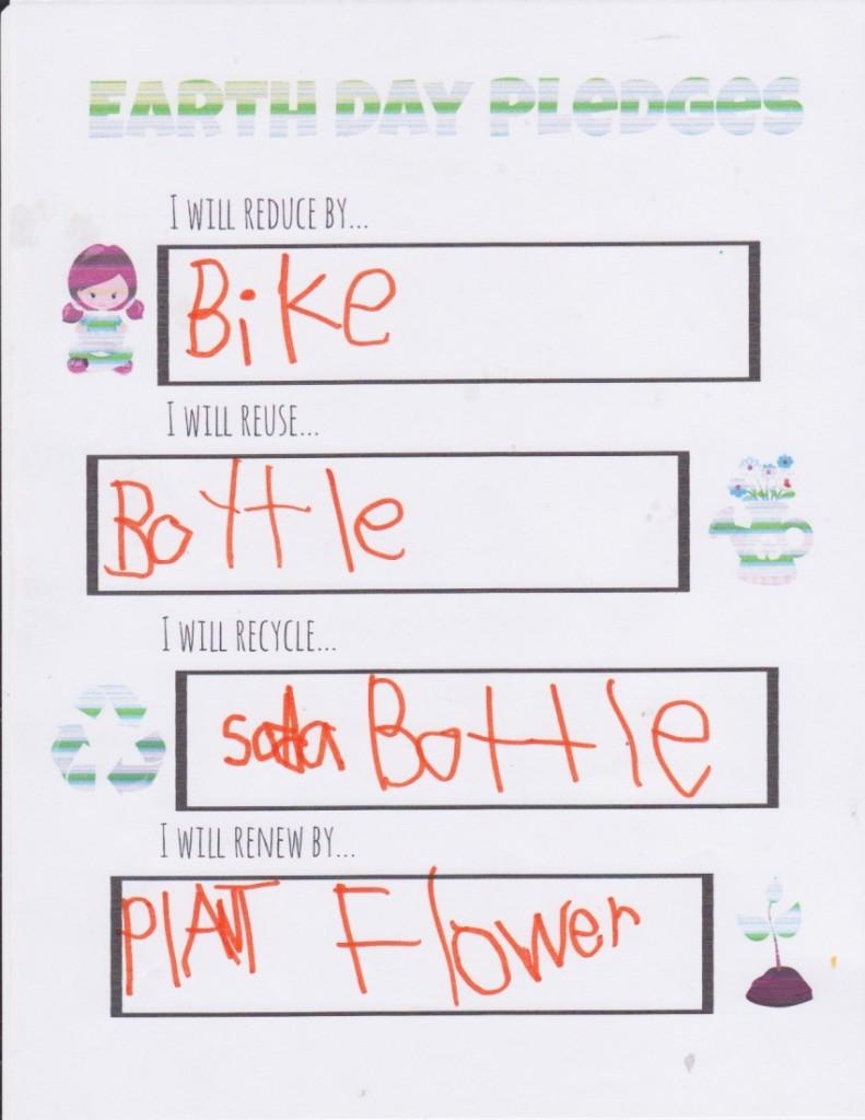 kids earth day pledges