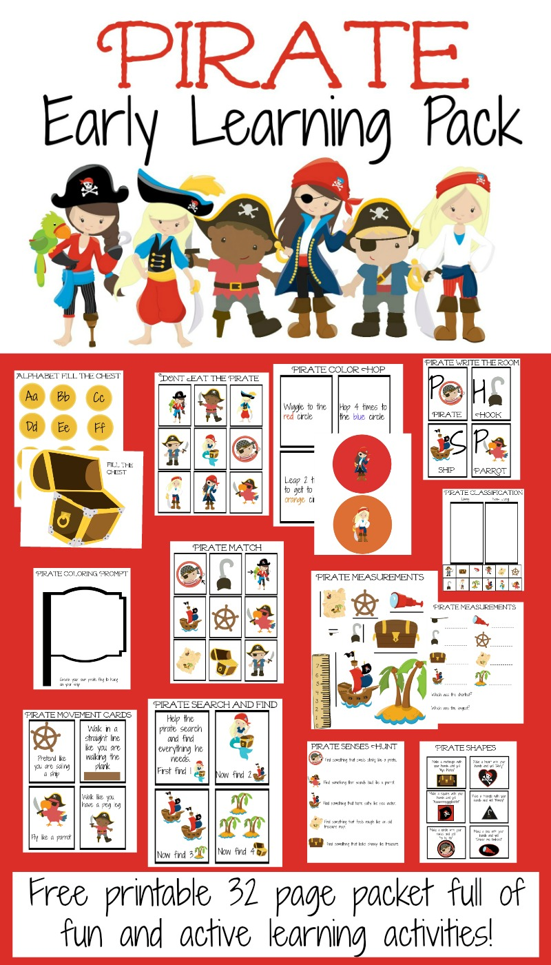 pirate early learning pack sample image