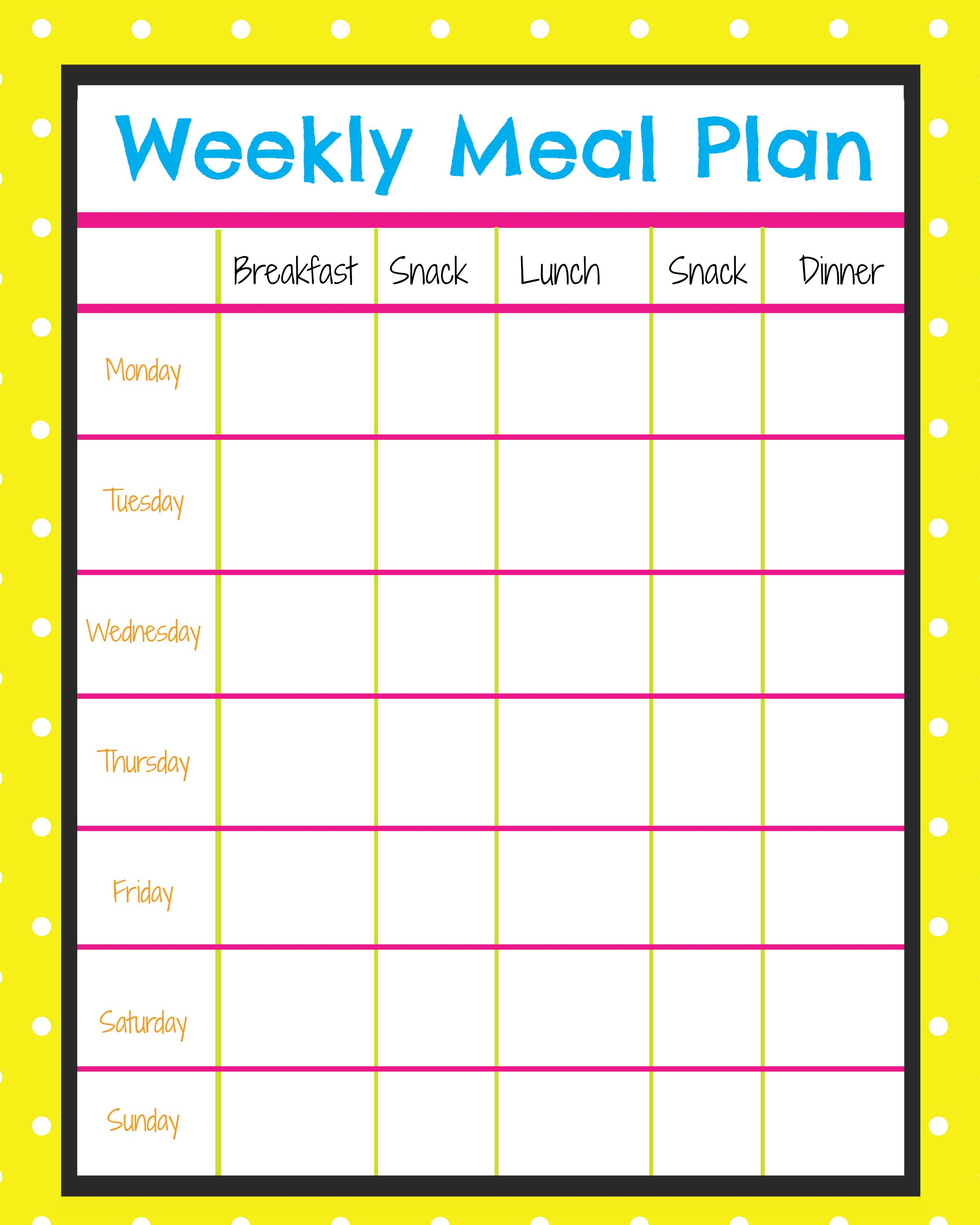 weekly lunch menu template - weekly menu planner more excellent me