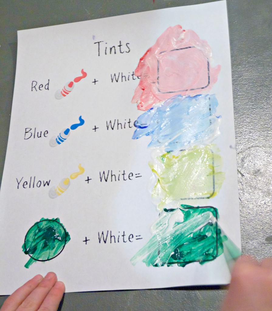 Free Printable tints color mixing page