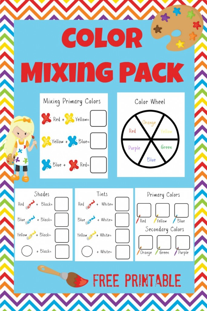Free printable preschool color mixing early learning pack