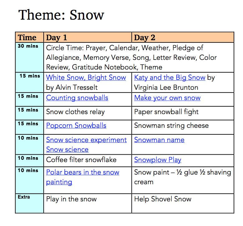 Snow Preschool Plan Preview