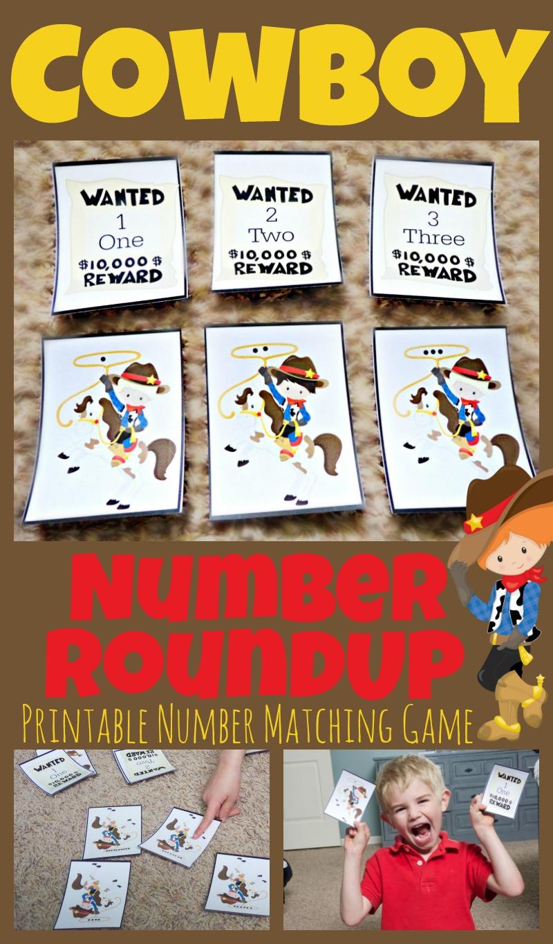 Cowboy number roundup free printable matching game