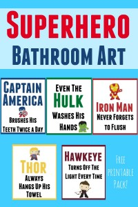 Free printable superhero bathroom art set to help your little super hero keep himself and the bathroom clean