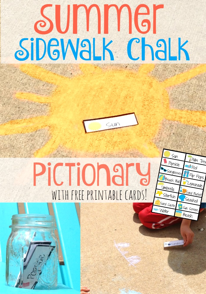 image relating to Printable Pictionary Cards named Summertime Sidewalk Chalk Pictionary Extra High-quality Me