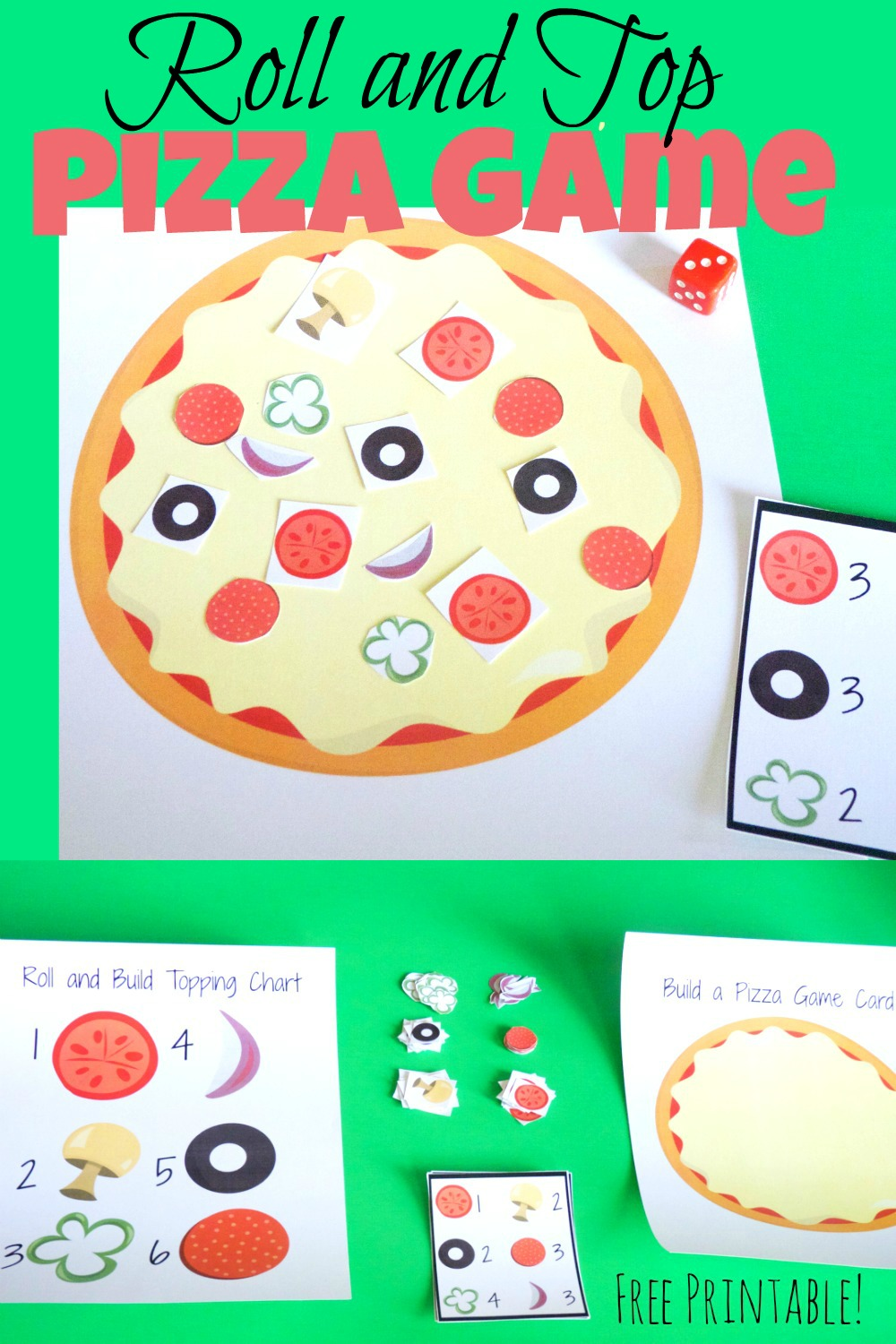 Fun and educational roll and top pizza game for kids