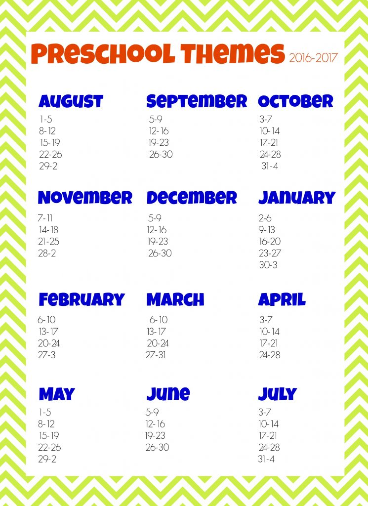 2016-2017 Preschool Themes Planner | More Excellent Me