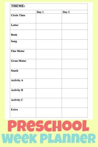 Easy To Use Preschool Week Lesson Planner
