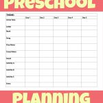 Printable Preschool Week Planning Sheet