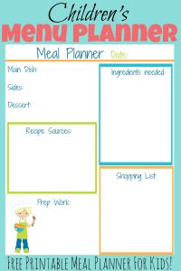 Free Printable meal planner for kids
