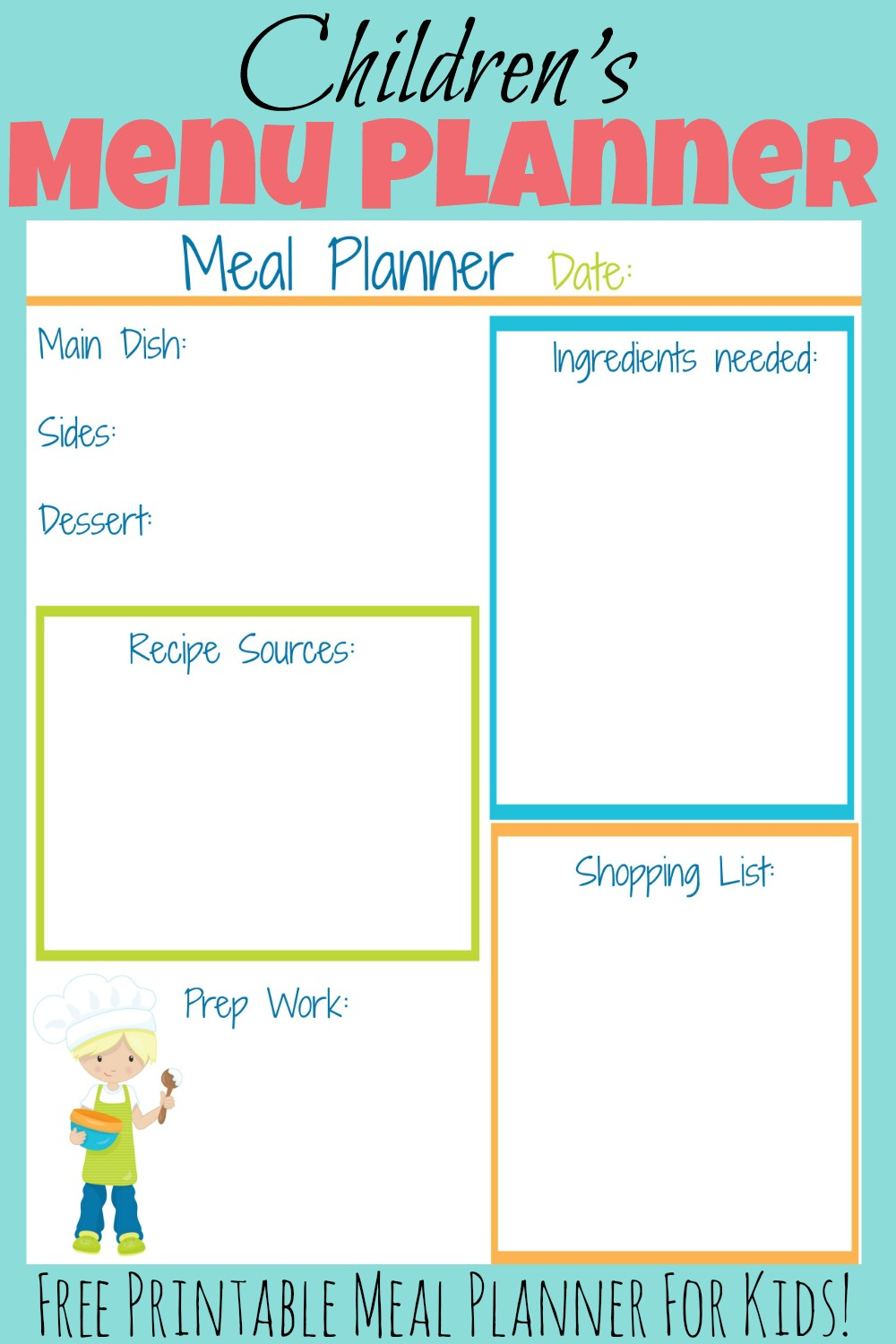 children s meal planners more excellent me