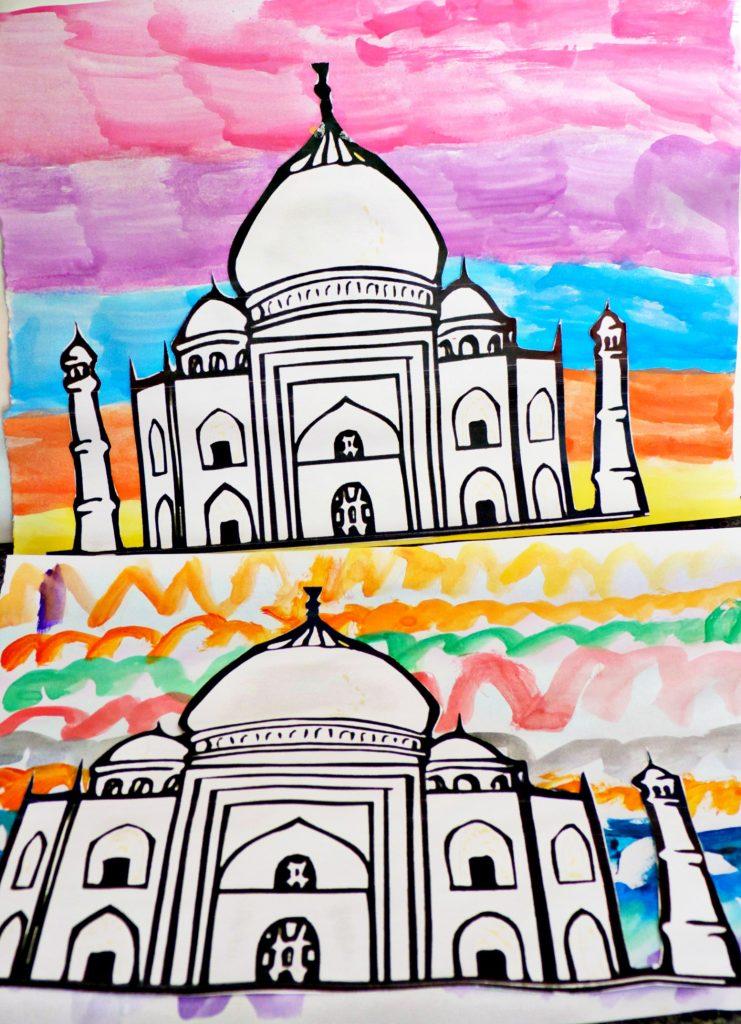 Taj Mahal water color paintings