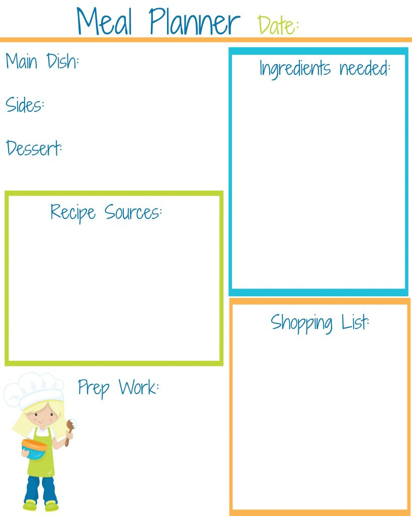 children's meal planner girl
